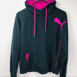Puma Sz M Women's Hoodies Fleece Black Sweatshirt